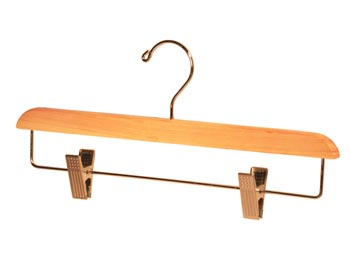 Bulk Wooden Hangers - 14 inch Cedar Wood Bottom Hanger with Chrome Clips