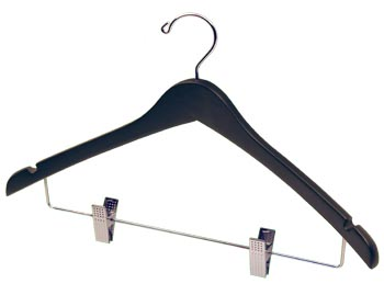 Bulk Wooden Hangers - 17 inch Wooden Coat Hanger - Black with Chrome Clips
