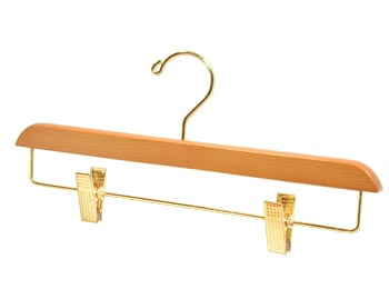 Bulk Wooden Hangers - 14 inch Wooden Bottom Hanger - Light Oak with Brass Clips