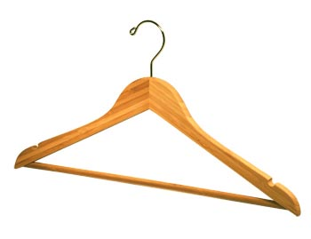 Natural / Blonde Bamboo Wooden Hangers - Bamboo Suit Hanger with Notches and Pants Bar