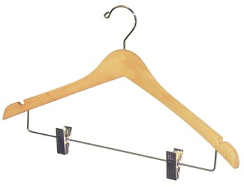 Bulk Wooden Hangers - 17 inch Wooden Coat Hanger - Natural with Chrome Clips