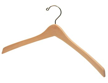 Bulk Wooden Hangers - 17 inch Wooden Coat Hanger - Clear Natural with Chrome Hook