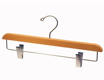 Light Oak Natural Hardwood Wooden Hangers - Wooden Bottom Hanger - Light Oak with Chrome Clips