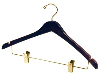 Brown Natural Hardwood Wooden Hangers - Wooden Coat Hanger - Walnut Brown with Brass Clips