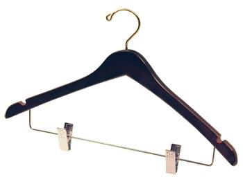 Brown Natural Hardwood Wooden Hangers - Wooden Coat Hanger - Walnut Brown with Brass Hook, Chrome Clips