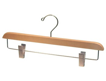 Bulk Wooden Hangers - 14 inch Wooden Bottom Hanger - Maple with Chrome Clips
