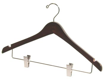 Bulk Wooden Hangers - 17 inch Wooden Coat Hanger - Walnut Brown with Chrome Clips
