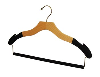 Bulk Wooden Hangers - 17 inch Natural, Chrome Hook & Flocked Wooden Pants Bar