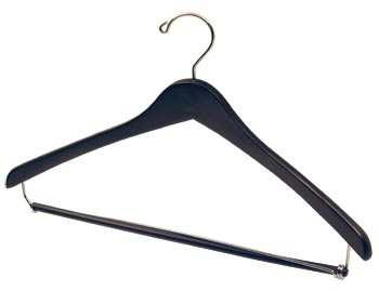 Black Natural Hardwood Wooden Hangers - Wooden Suit Hanger - Black, Chrome Hook and Locking Pants Bar