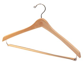 Bulk Wooden Hangers - 17 inch Wooden Suit Hanger - Natural, Chrome Hook and Locking Pants Bar