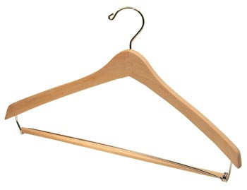Bulk Wooden Hangers - 17 inch Wooden Suit Hanger - Natural, Chrome, Pant Bar, Wax Finish