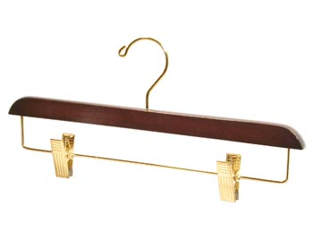 Brown Natural Hardwood Wooden Hangers - Wooden Bottom Hanger - Walnut Brown with Brass Clips