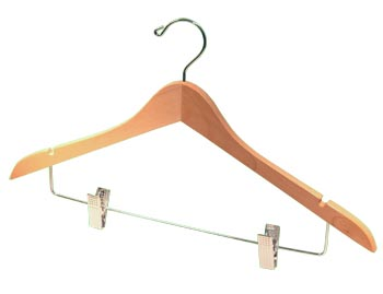 Natural / Blonde Natural Hardwood Wooden Hangers - Large Wooden Coat Hanger - Natural with Chrome Clips