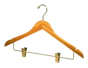 Natural / Blonde Bamboo Wooden Hangers - Bamboo Coat Hanger with Notches and Chrome Clips